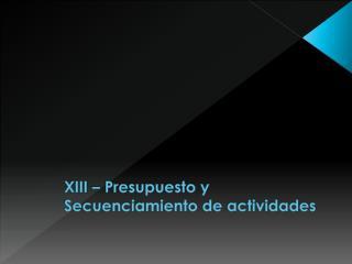 XIII – Presupuesto y  Secuenciamiento  de actividades