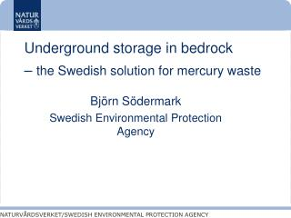 Underground storage in bedrock  –  the Swedish solution for mercury waste