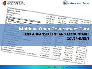 Moldova Open Government Data  For a transparent and accountable Government