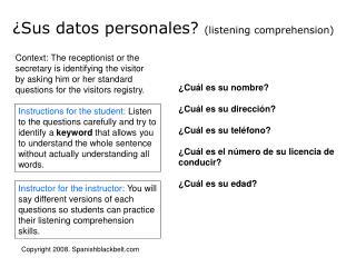 ¿Sus datos personales?  ( listening comprehension )