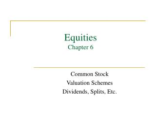 Equities Chapter 6