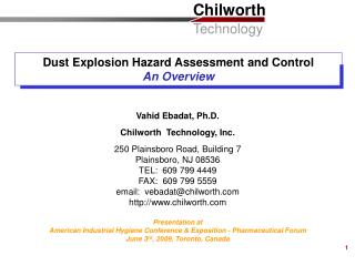 Dust Explosion Hazard Assessment and Control An Overview