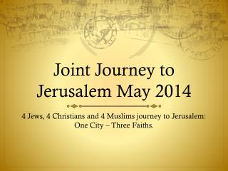 Joint Journey to Jerusalem May 2014