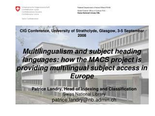 CIG Conference, University of Strathclyde, Glasgow, 3-5 September 2008