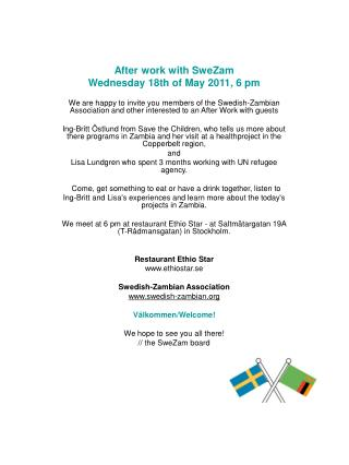 After work with SweZam  Wednesday 18th of May 2011, 6 pm