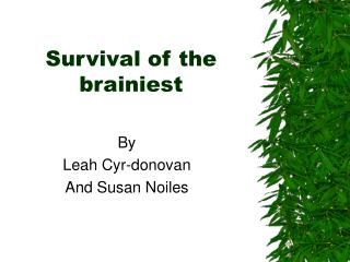 Survival of the brainiest