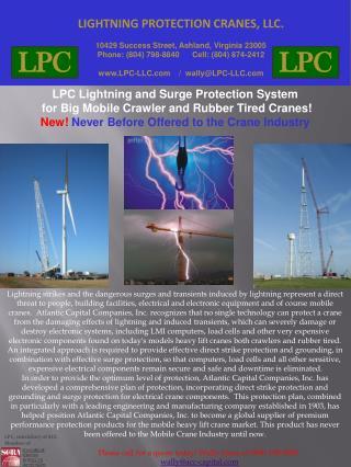 LIGHTNING PROTECTION CRANES, LLC. 10429 Success Street, Ashland, Virginia 23005