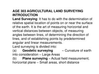 AGE 303 AGRICULTURAL LAND SURVEYING INTRODUCTION