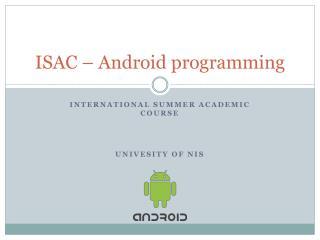 ISAC – Android programming