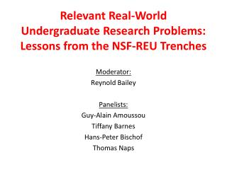 Relevant Real-World Undergraduate Research Problems: Lessons from the NSF-REU Trenches