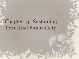 Chapter 23:  Sustaining Terrestrial Biodiversity