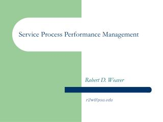 Service Process Performance Management