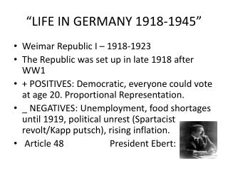 """LIFE IN GERMANY 1918-1945"""