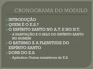 CRONOGRAMA DO MÓDULO