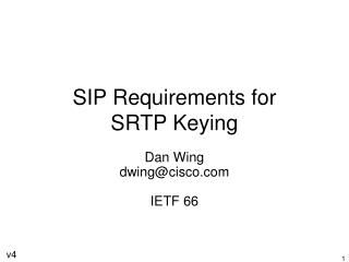 SIP Requirements for SRTP Keying