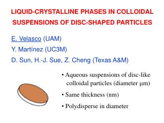LIQUID-CRYSTALLINE PHASES IN COLLOIDAL SUSPENSIONS OF DISC-SHAPED PARTICLES