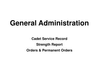 General Administration