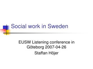 Social work in Sweden