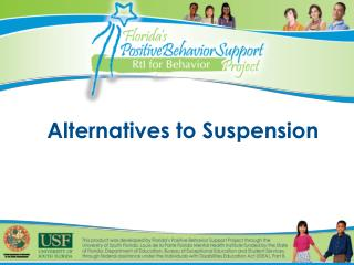 Alternatives to Suspension
