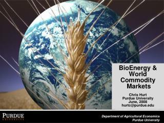 BioEnergy &  World Commodity  Markets Chris Hurt  Purdue University June, 2008 hurtc@purdue