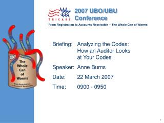Briefing:	Analyzing the Codes:  How an Auditor Looks at Your Codes Speaker:	Anne Burns