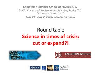 Round table Science in times of crisis:  cut or expand?!
