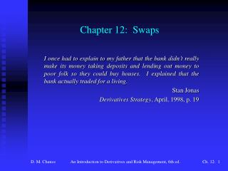 Chapter 12:  Swaps