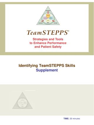 Identifying  TeamSTEPPS  Skills Supplement