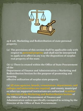 25-8-106. Marketing and Redistribution of state personal property .