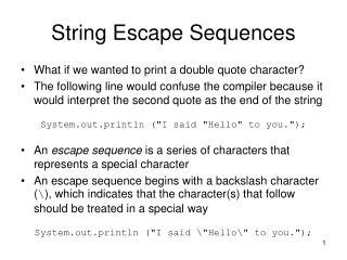 String Escape Sequences