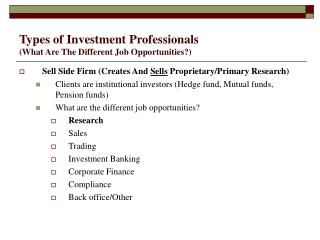 Types of Investment Professionals (What Are The Different Job Opportunities?)