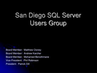 San Diego SQL Server Users Group