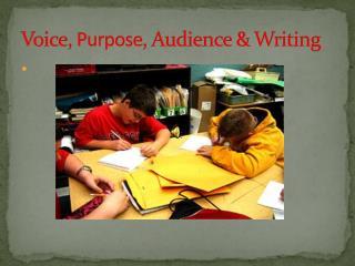 Voice,  Purpose , Audience & Writing