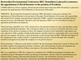 Restoration Environmental Contractors REC Demolition is plea