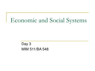 Economic and Social Systems