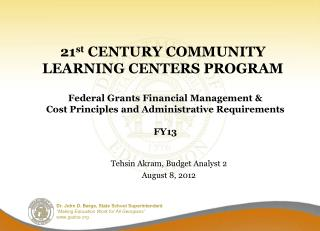 21 st  CENTURY COMMUNITY LEARNING CENTERS PROGRAM