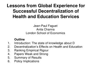 Lessons from Global Experience for Successful Decentralization of Health and Education Services
