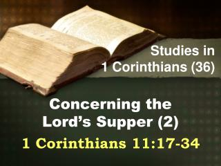 Studies in  1 Corinthians (36)