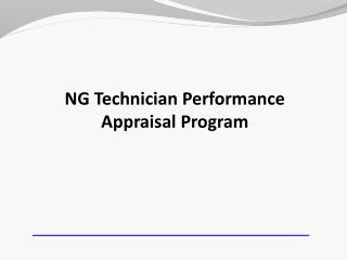 NG Technician Performance Appraisal Program