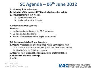 SC Agenda – 06 th  June 2012