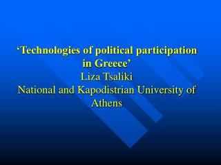 The Information Society in Greece