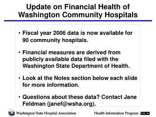 Update on Financial Health of Washington Community Hospitals