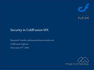 Security in ColdFusion MX
