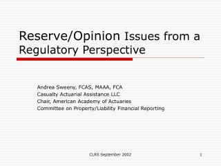 Reserve/Opinion  Issues from a Regulatory Perspective
