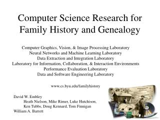 Computer Science Research for Family History and Genealogy