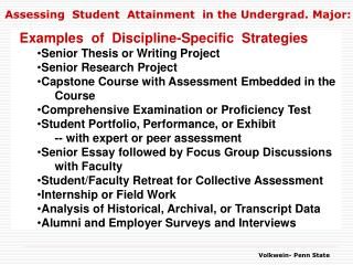 Assessing  Student  Attainment  in the Undergrad. Major: