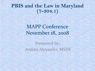 MAPP Conference November 18, 2008