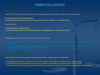 INDEMNITY AND GUARANTEE Definition not exhaustive