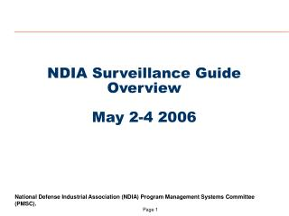 NDIA Surveillance Guide Overview May 2-4 2006