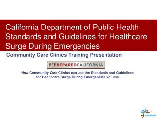 How Community Care Clinics can use the Standards and Guidelines